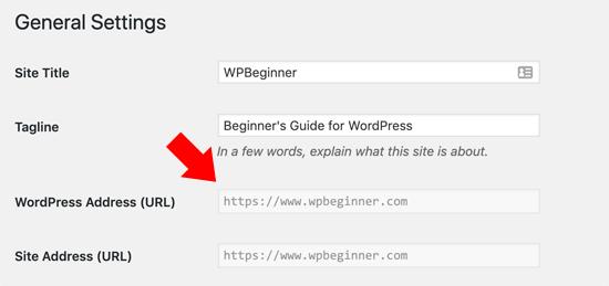 WordPress Address URL Greyed Out