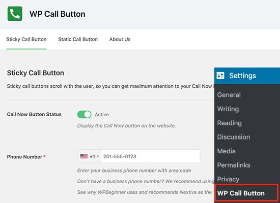 WP Call Button settings