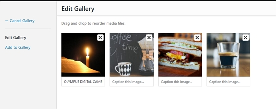 Default Gallery Drag and Drop Options
