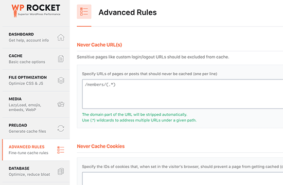 Advanced caching rules