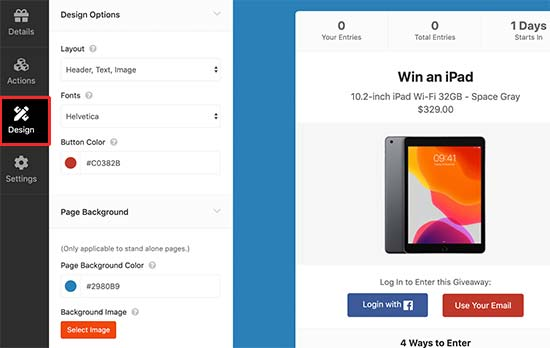 Design your Facebook giveaway campaign