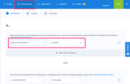 Enable adblock detection rule