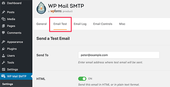 Test WordPress SMTP email settings