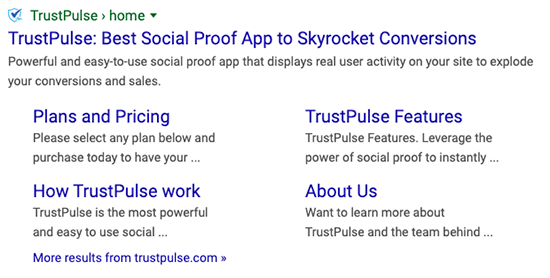 Google Sitelinks Generated from Page Title