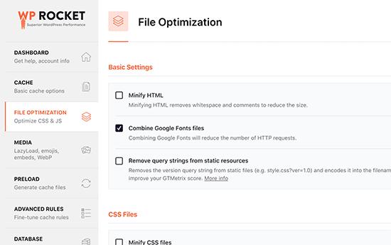 Minifying files in WP Rocket