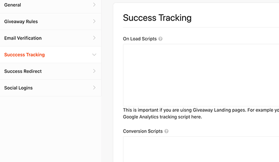 Success tracking