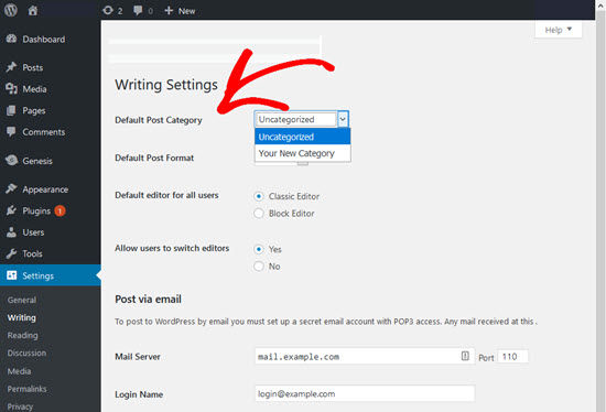 Setting Default Category