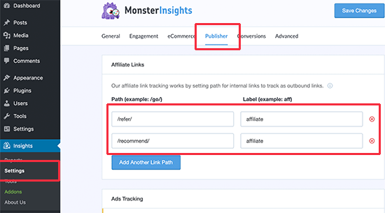 Tracking affiliate links in WordPress