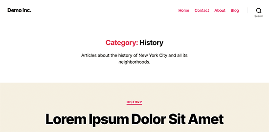 Category page preview