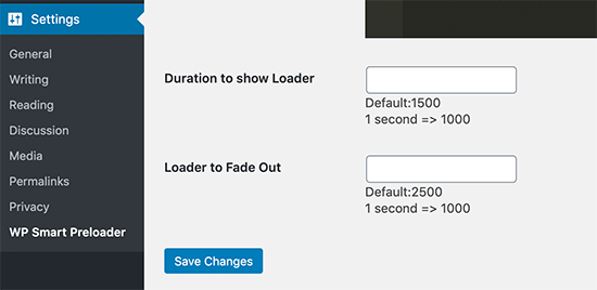 Set preloader duration and fade out