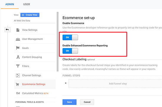 enable eCommerce in Google Analytics