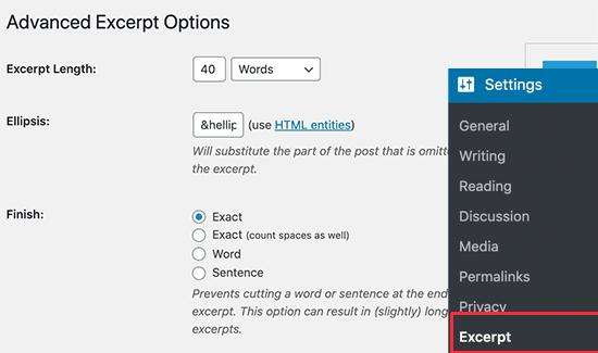 Excerpt settings