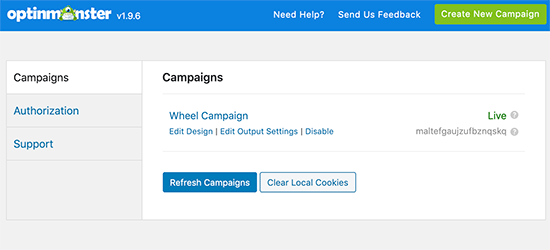 OptinMonster campaigns in WordPress