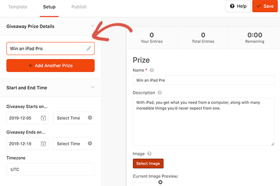 Enter prize title and details