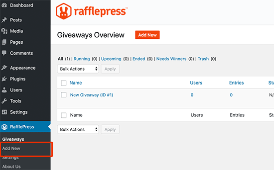 Add new WooCommerce contest giveaway