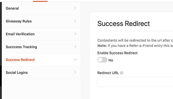Setup redirect