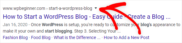 a WordPress slug example shown in search results