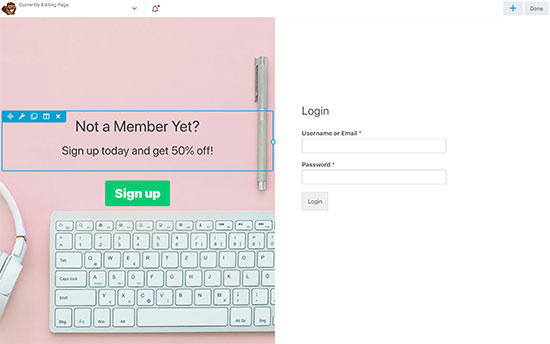 Creating a landing page for your login form
