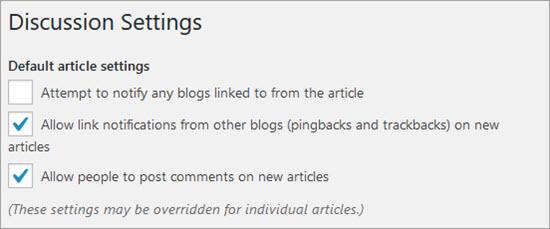 Default WordPress Comment Settings