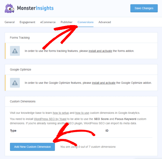 Add a new custom dimension (under the MonsterInsights Conversions tab)