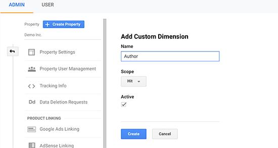 Creating author custom dimension