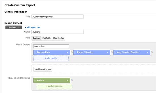Author tracking custom report