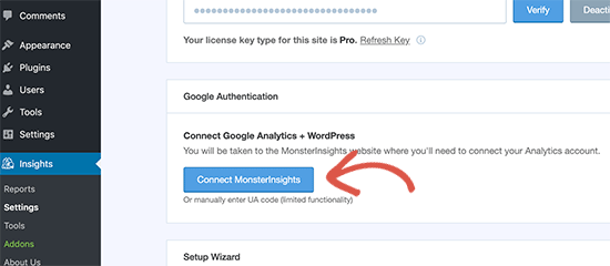 Connect MonsterInsights to Google Analytics