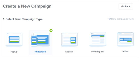 Select Fullscreen for your new campaign