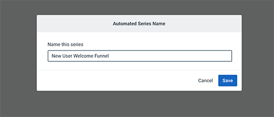 Welcome email funnel name