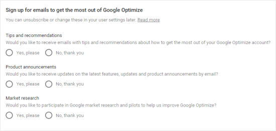 Choose which emails you want to receive from Google