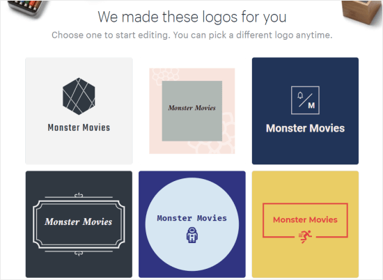Logos for Monster Movies created by Hatchful