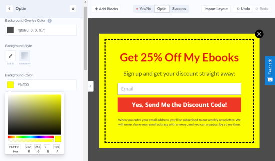 Changing the background color of your coupon