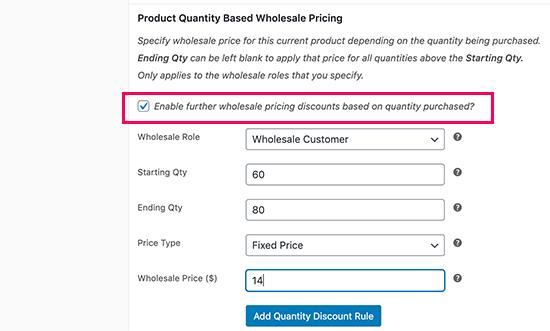Quantity based pricing