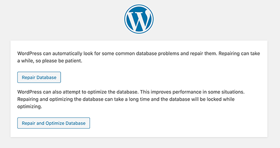 Repair WordPress database