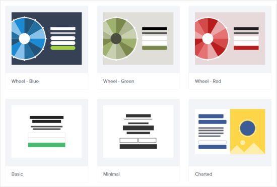 Select your coupon wheel template: there are three choices, blue, green, or red