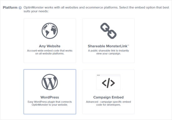 Select WordPress as the Platform for your coupon popup