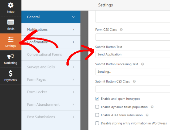Viewing the general settings for the form, with Submit button text changed to Send Application