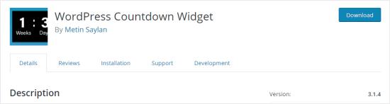 The WordPress Countdown Widget plugin
