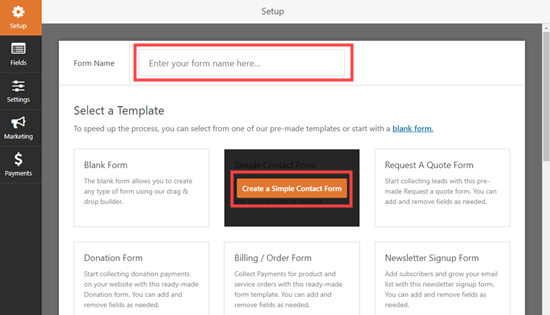 Use the Simple Contact Form template