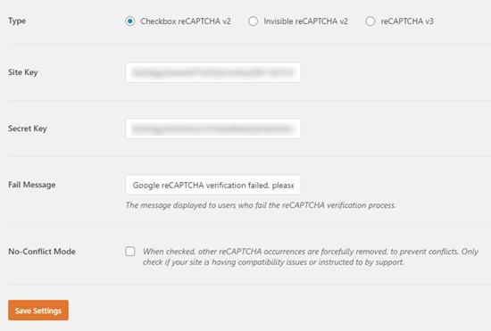 Entering your site key and secret key into WPForms