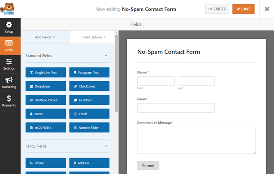 The default Simple Contact Form