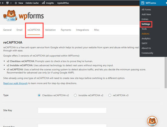 The reCAPTCHA settings page in WPForms