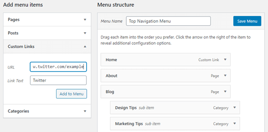 Adding a custom link to Twitter to the menu