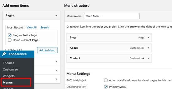 Adding blog page link to navigation menu