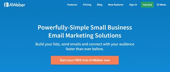 Autoresponder tool AWeber's website