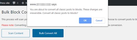 The bulk conversion warning
