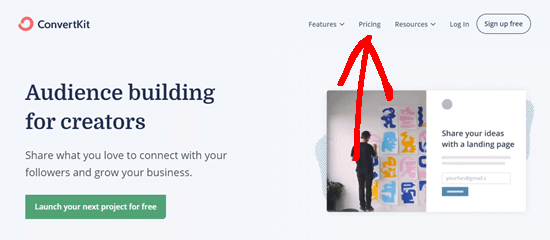 The ConvertKit website showing the Pricing link