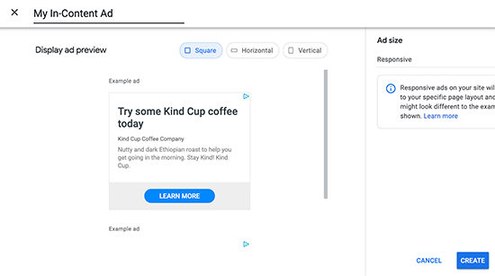 Name ad unit and choose ad type