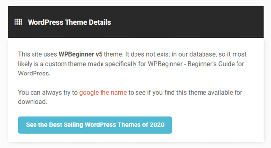 IsItWP will give the name of a custom or child theme
