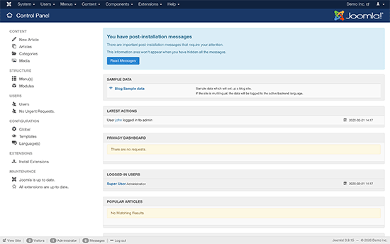 Joomla dashboard after a fresh install